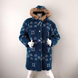 Vtg LL Bean Snowflake Fleece Teddy Hooded Coat S M